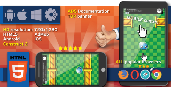 Crazy Jump 2 - HTML5 game. Construct 2 (.capx) + ADS