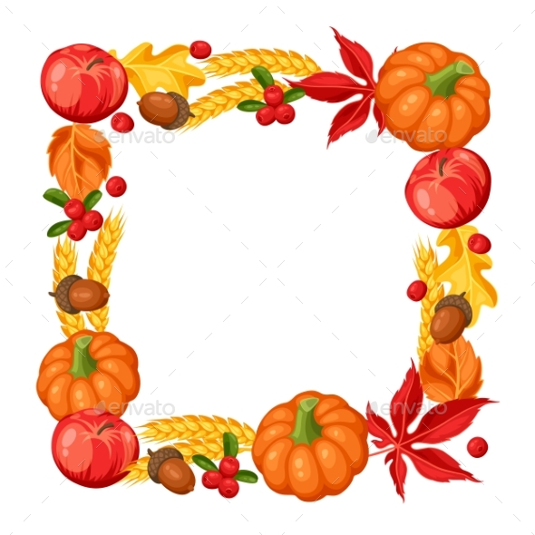 Thanksgiving Day Or Autumn Frame. Decorative