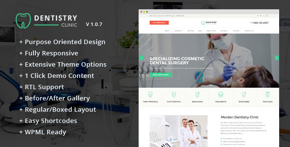 Dentistry – Dental Clinic & Dentist WordPress Theme
