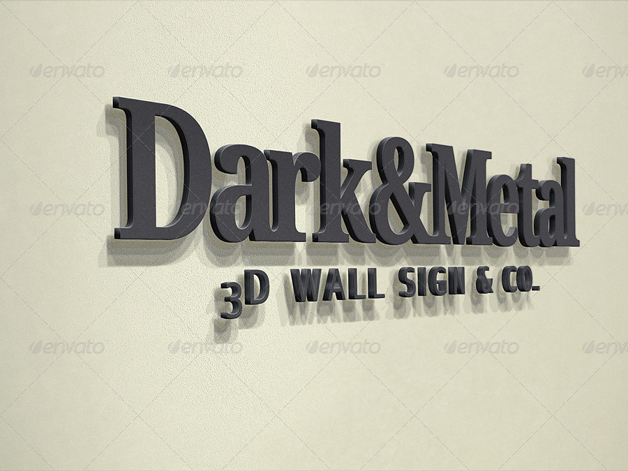 Realistic 3D Wall Logo Mockup - Smart Template V.3