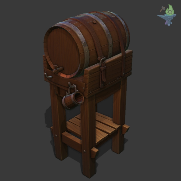 the main barrel with its support 2953 tris