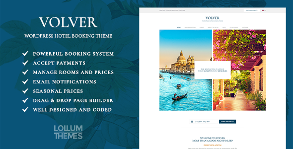 Download Volver Hotel - WordPress Hotel Booking Theme nulled download