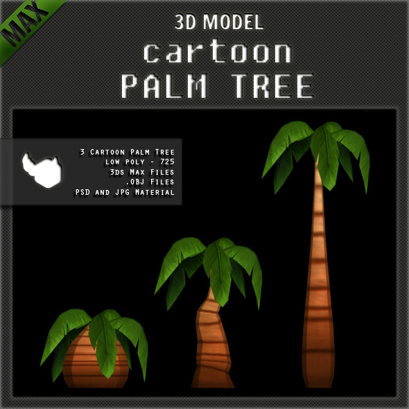 3DOcean Cartoon Palm Tree Low Poly 1764418