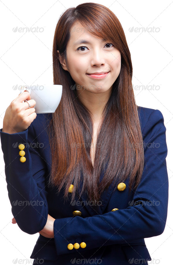 woman with a cup - Stock Photo - Images