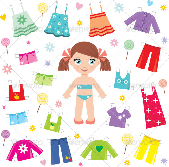 3d Paper Doll Templates Paper doll with clothes set