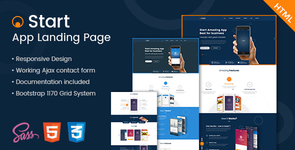 Start - App Landing Page HTML Template