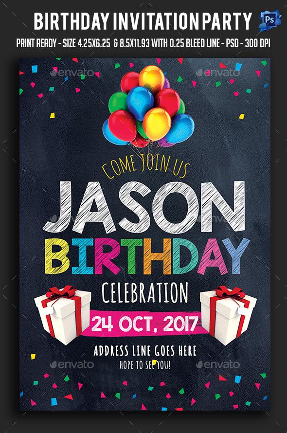 Birthday Invitation Party Flyer