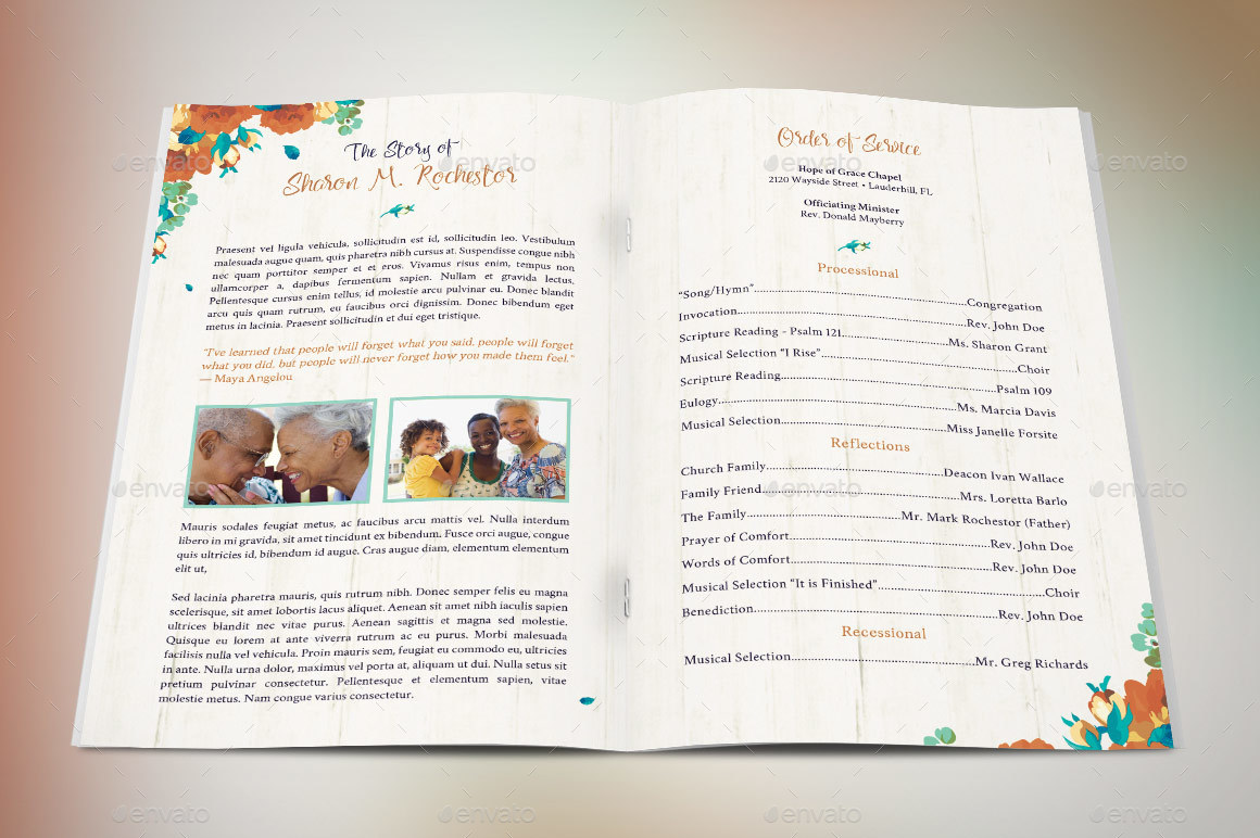 Autumn Floral Funeral Program Template by Godserv2 – Father Funeral Program Template