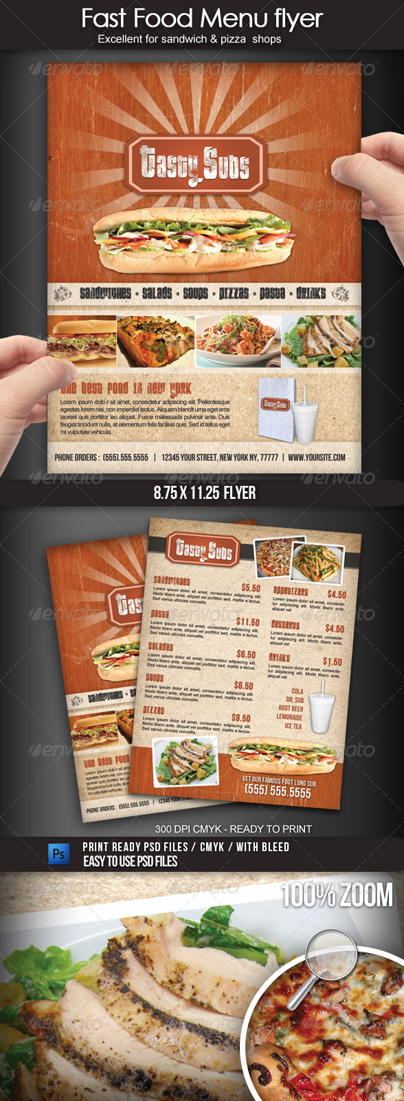 Fast food menu flyer graphicriver for Sandwich shop menu template