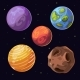 Cartoon Alien Planets, Moons Asteroid On Space