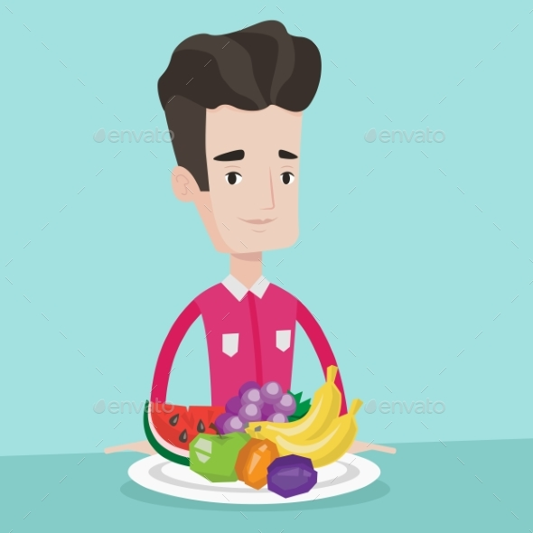 Man With Fresh Fruits Vector Illustration.