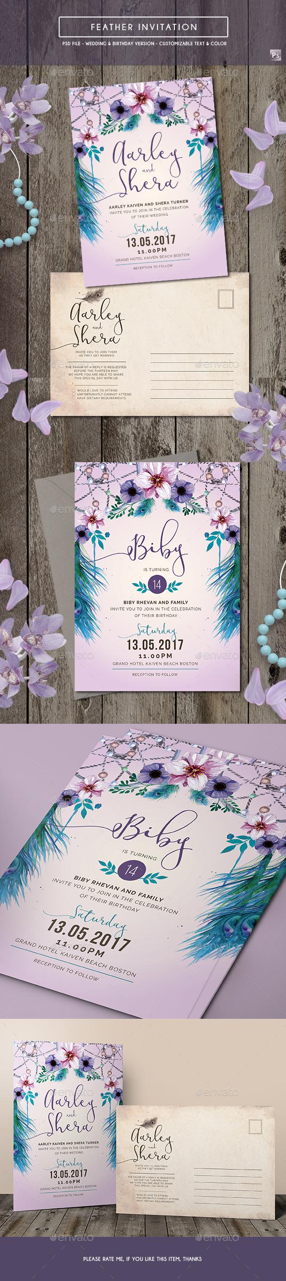 Feather Invitation (Wedding & Birthday)