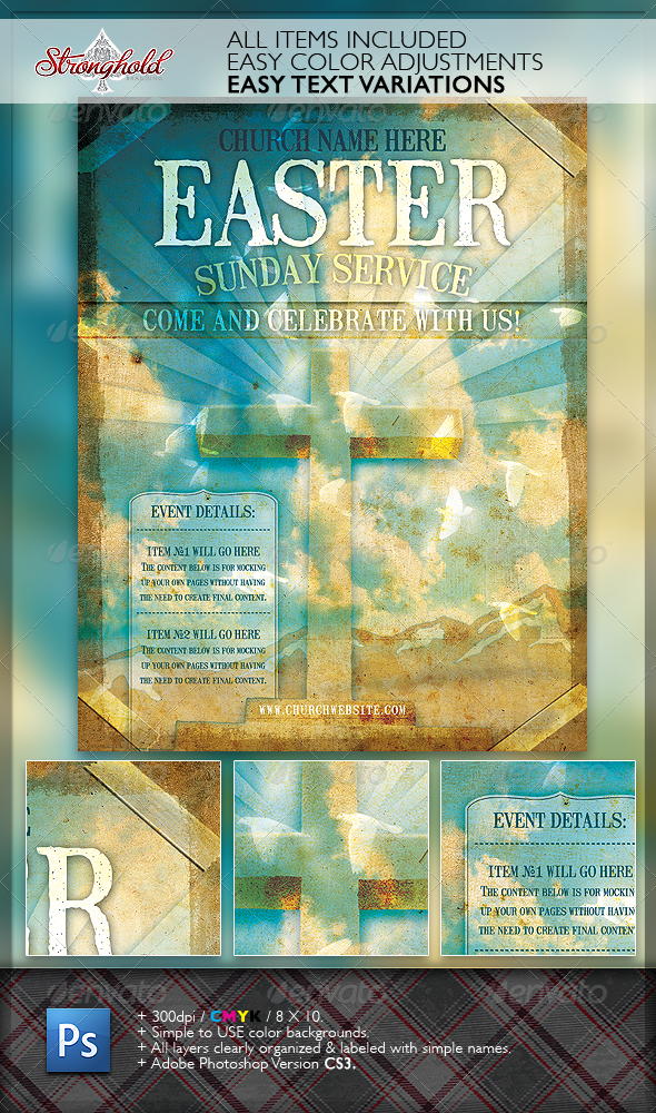 Graphic River Church Service Event Flyer Template Print Templates -  Flyers  Church 1766181