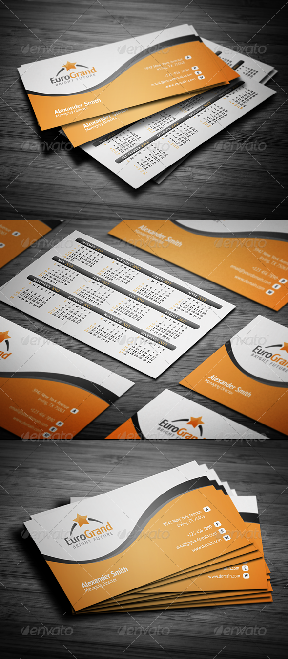 Graphic River Stylish Calendar Business Card Print Templates -  Stationery  Calendars 1515162