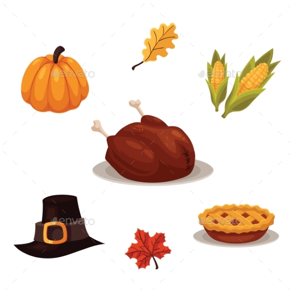 Set Of Traditional Thanksgiving Symbols