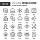 Network and Cloud Technology Flat Line Web Icons