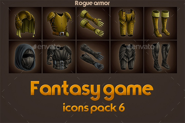 Game Icons of Fantasy Rogue Armor – Pack 6 (Miscellaneous)