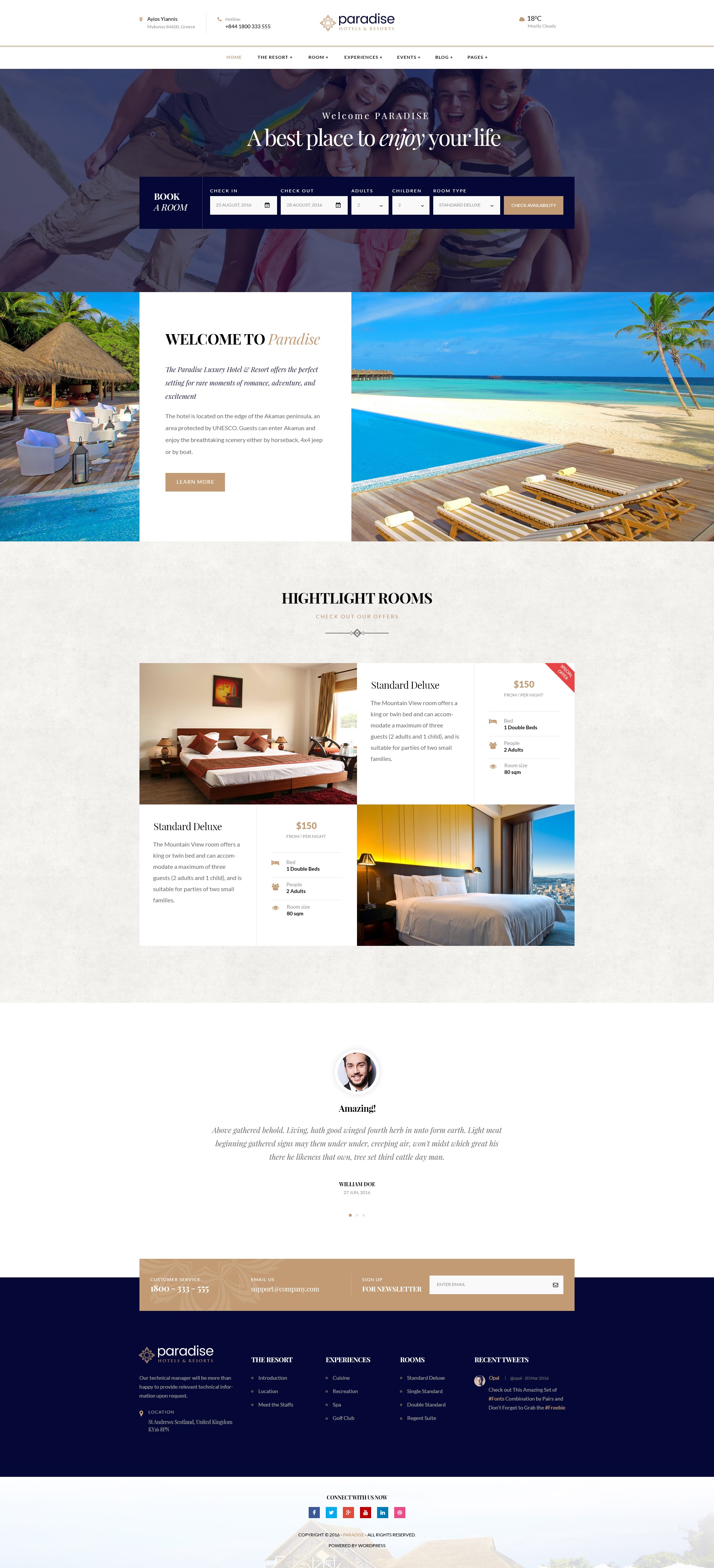 Amp WordPress Themes Paradise - Hotels & Resorts Responsive WordPress Theme by ...