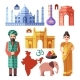 India Flat Vector Icons With National Landmarks