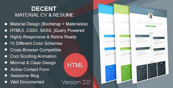 Decent | Material CV & Resume