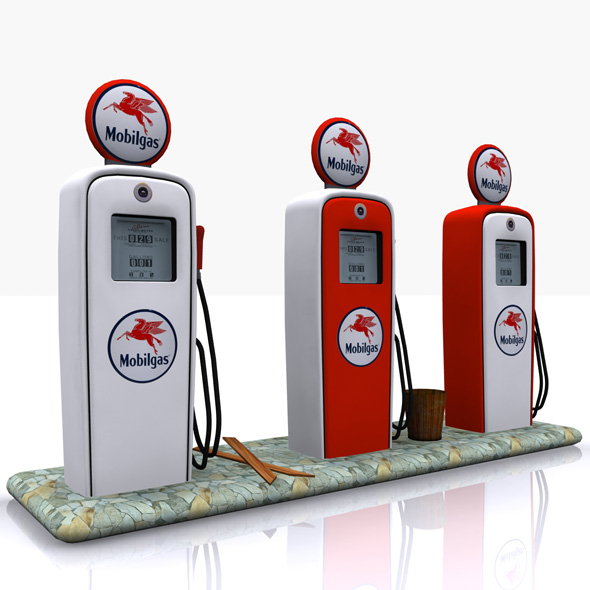 Gas Pump Mobilgas - 3DOcean Item for Sale