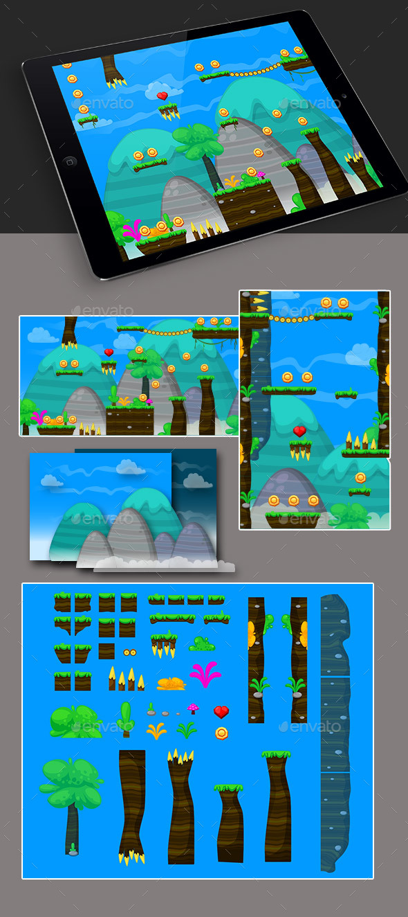 Nature Game Platformer for Adventure (Tilesets)