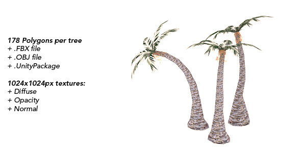 3DOcean Palms Low Polygonal Trees Set 1 1763713