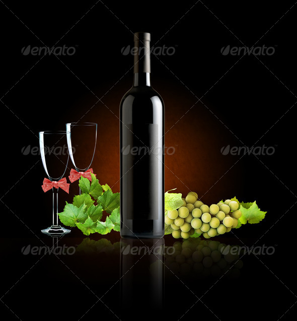 the still life with glass of wine  - Stock Photo - Images
