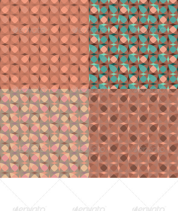 Vector Set Seamless Pink Geometric Pattern - Patterns Decorative