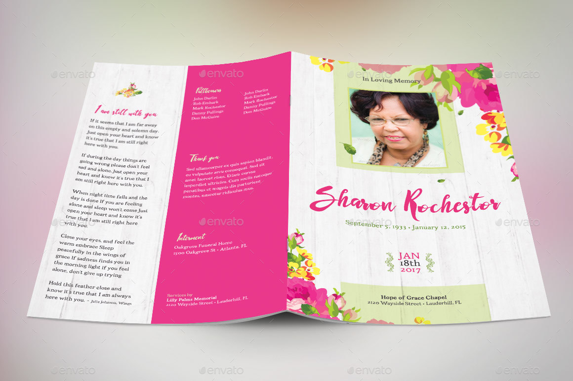 Floral Funeral Program Template by Godserv2 – Funeral Flyer Template