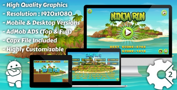 Download Ninja Run - HTML5 Game, Mobile Vesion+AdMob!!! (Construct-2 CAPX) nulled download