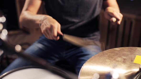 Download Male Musician Playing Drums And Cymbals At Studio 3 nulled download