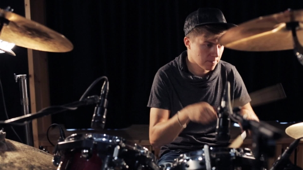 Download Male Musician Playing Drums And Cymbals At Studio 13 nulled download