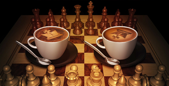 Chess Cafe Play Table And Cappuccino Cups By Videomagus
