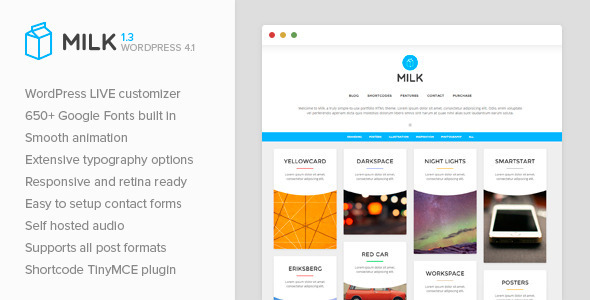 Milk - Simple Masonry WordPress Portfolio