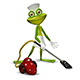3D Illustration of a Frog with a Maid Vacuuming