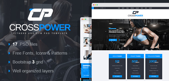 CrossPower - Sport Gym Fitness PSD Template