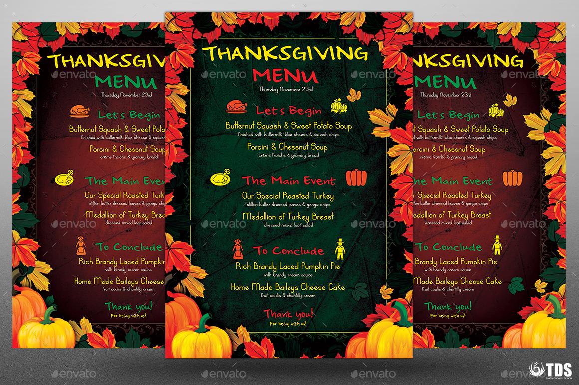 thanksgiving menu template v1 by lou606 graphicriver. Black Bedroom Furniture Sets. Home Design Ideas