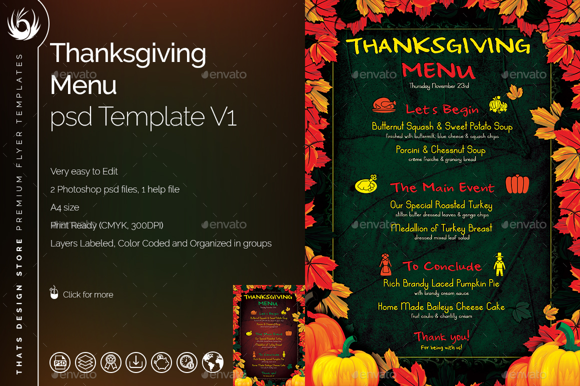thanksgiving menu template v1 by lou606