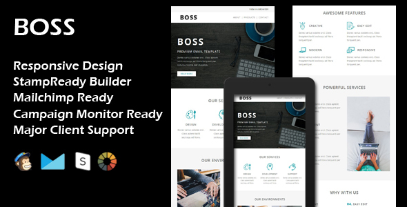BOSS - Multipurpose Responsive Email Template + Stamp Ready Builder
