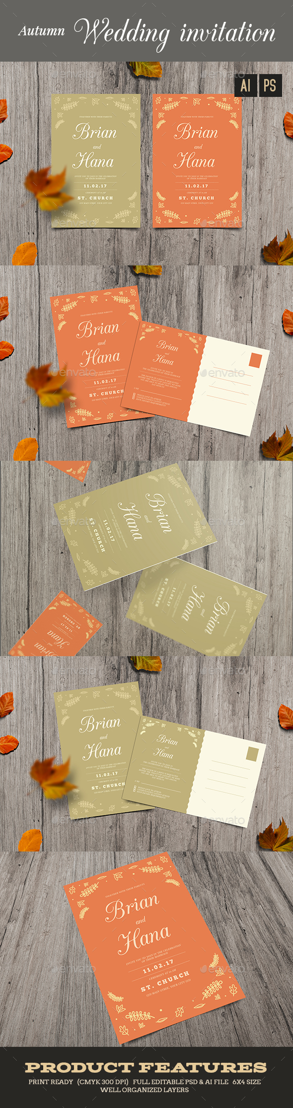 Autumn Wedding invitation/RSVP