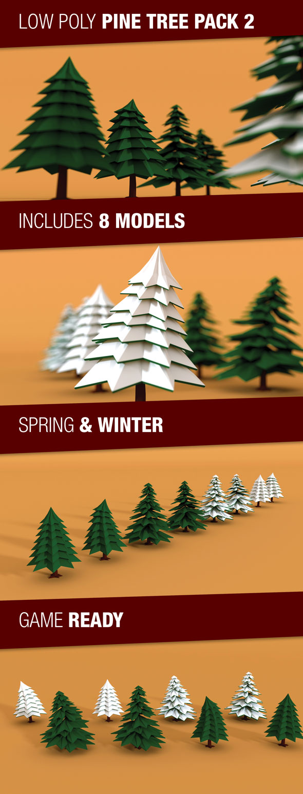 3DOcean Low Poly Pine Trees Pack 2 with Snow 17851770