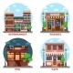 Pub Supermarket Pizzeria and Cafe Buildings