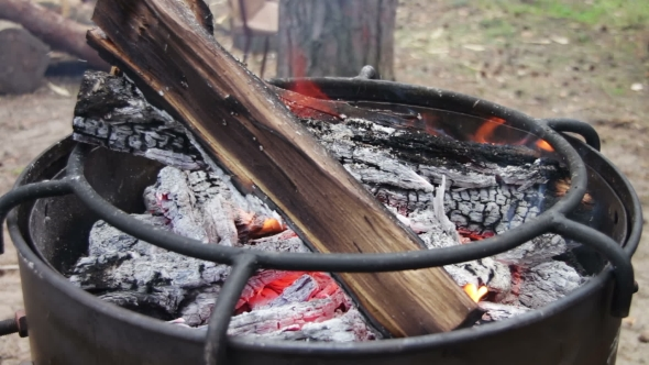 Download Bonfire With Wood And Coal Burning On The Grill nulled download