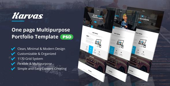 Karvas - One page Multipurpose Portfolio PSD