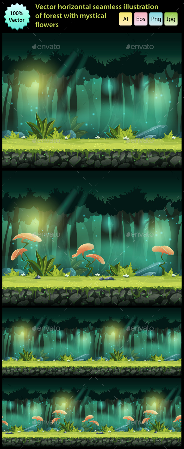 Horizontal Seamless Forest with Mystical Flowers (Backgrounds)