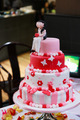 White, pink and red wedding cake - PhotoDune Item for Sale