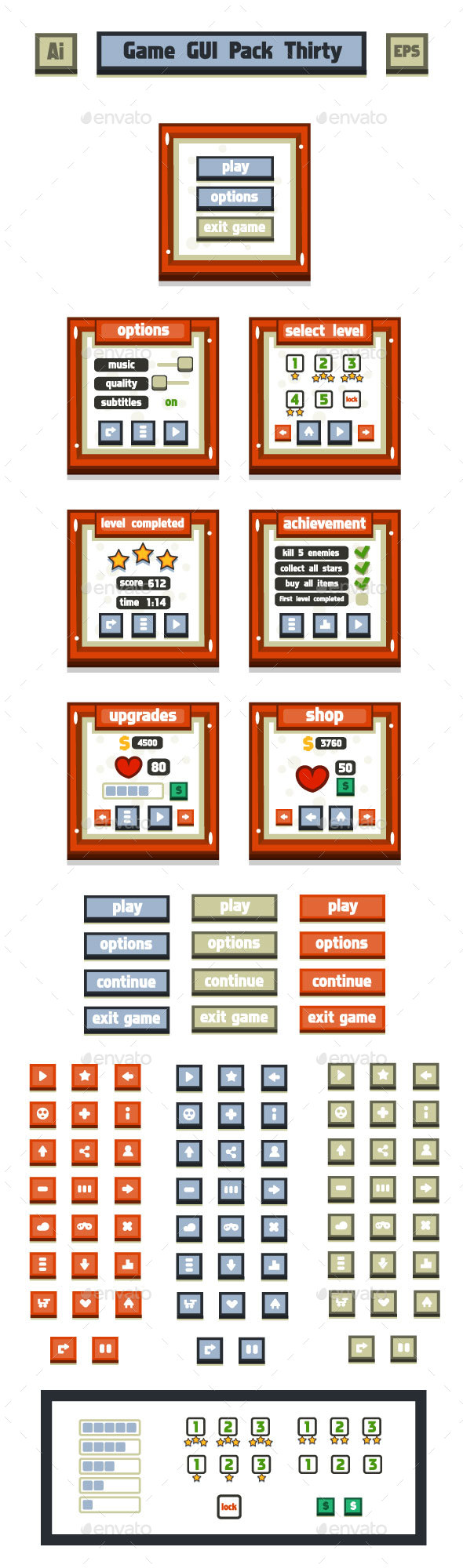 Game GUI Pack Thirty (User Interfaces)