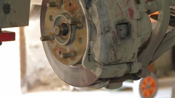 VideoHive Dismantling Of Brake Disk At Auto Repair 17867121