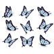 Collection Of Blue Butterflies. Vector